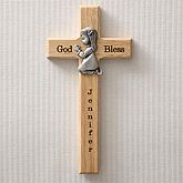 Personalized First Communion Wall Cross with Pewter Medallion - Baby Gifts