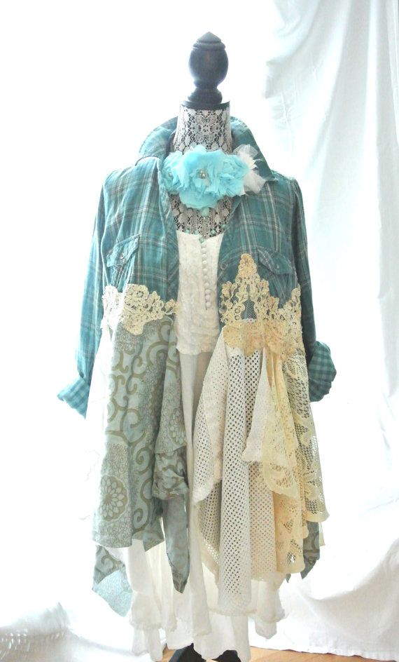 Interesting idea to re-style a flannel shirt: Mori Girl Dress Bohemian Duster Romantic coat by TrueRebelClothing, $110.00