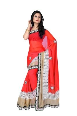 Red Embroidery Pure Georgette Saree With Blouse Sarees on Shimply.com