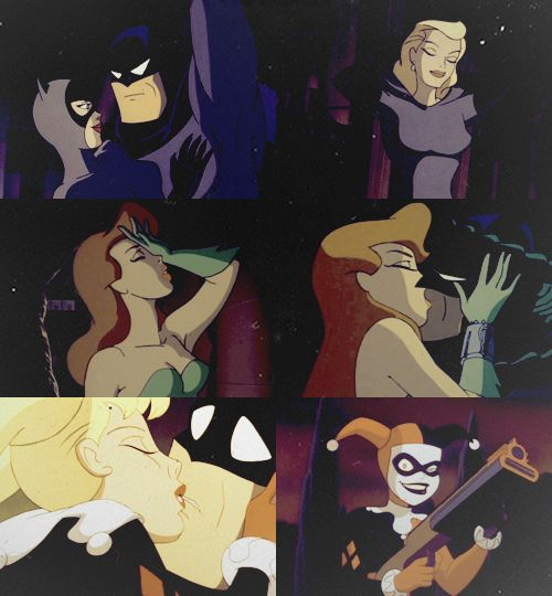 Poison Ivy / Harley Quinn / Catwoman kissing Batman from Batman : The ANimated Series!