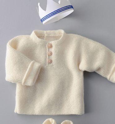 Modèle brassière unie point mousse - Modèles tricot layette - Phildar