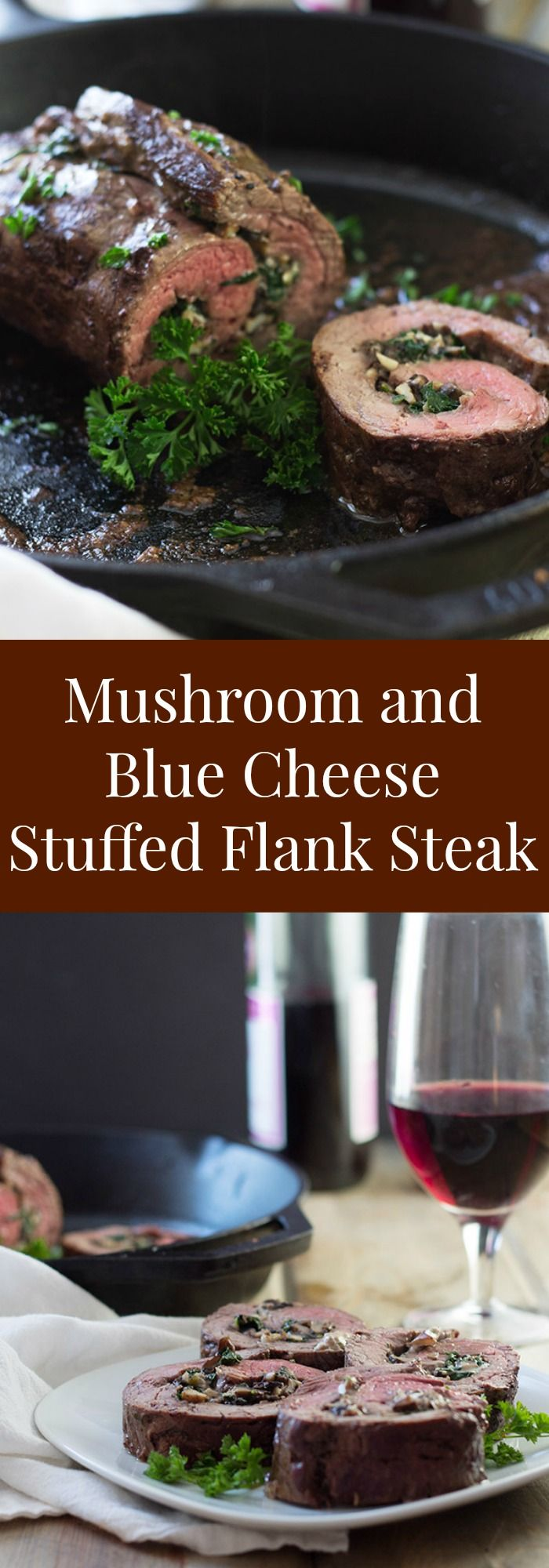 Mushroom and Blue Cheese Stuffed Flank Steak- this is a super easy recipe that…