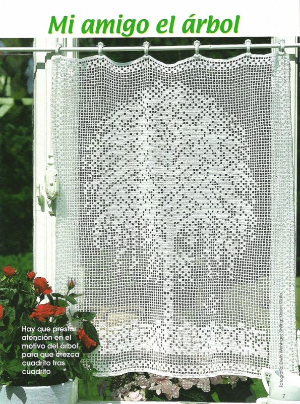 Häkeln & Filethäkeln Gardine  Baum /  crochet curtain tree - Cortinas de croche