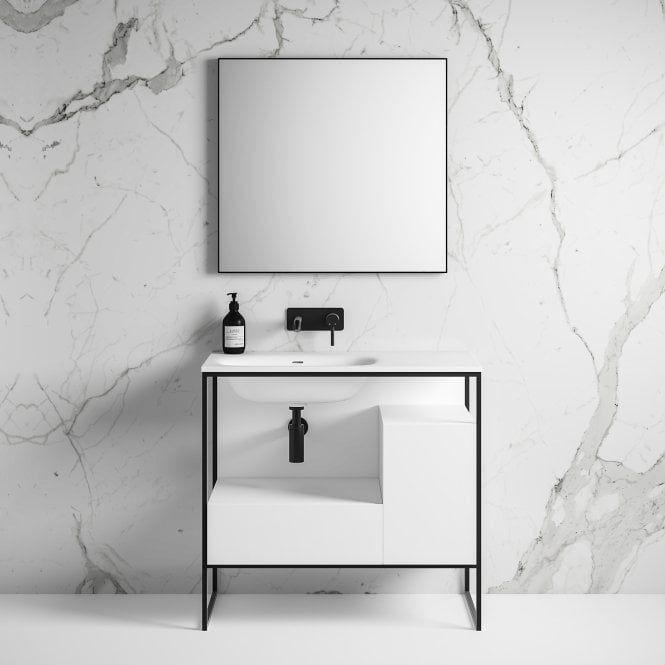 Luxe Matte Black Frame Freestanding Bathroom Vanity Unit 900 Bathroom Vanity Units Vanity Units Luxury Bathroom Vanity