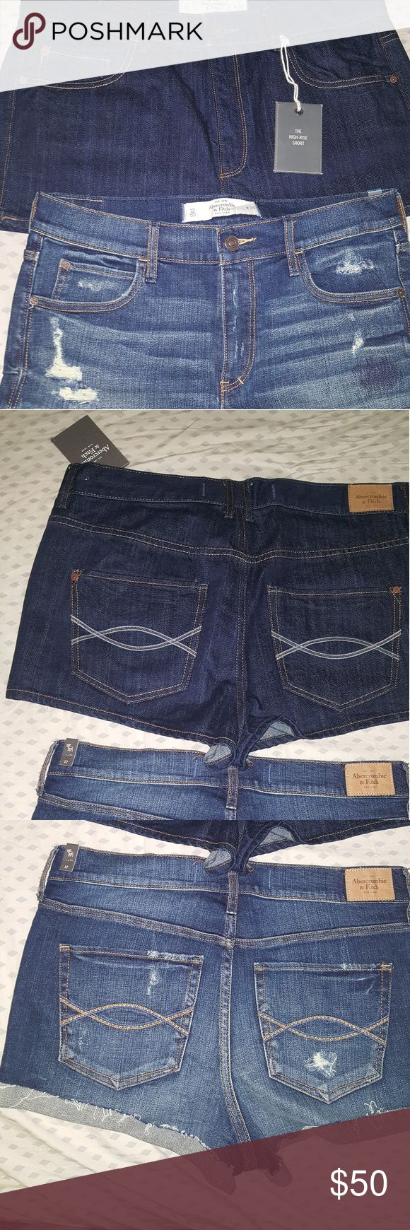 Nwt Abercrombie and Fitch shorts size 12 The high rise are nwt size 12 dark wash and the destroyed denim are also a 12 but in a lighter wash. Hard to find Size! Abercrombie & Fitch Shorts Jean Shorts