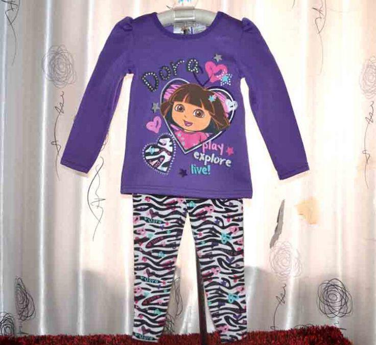 Дети одежда комплект младенца хлопка девушки пижамы костюм дети пижамы дети дора костюм топ + зебры брюки 2 шт. 6 s / l