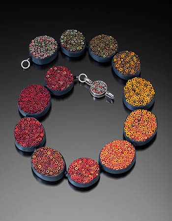 """Cynthia Toops: , Hollow tube necklace in polymer clay. Approx. 19"""" long."""