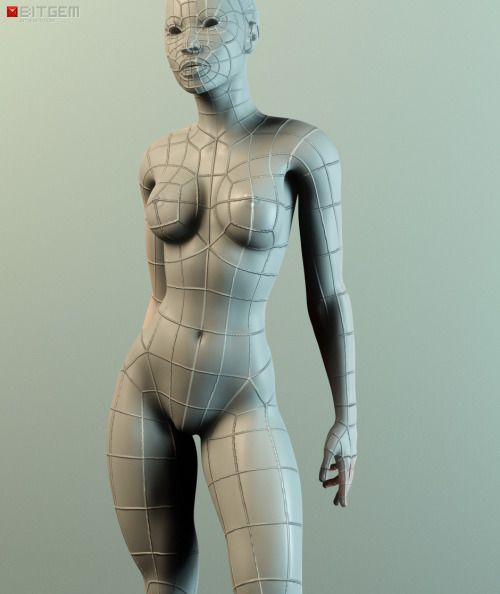 Low Poly Female Base Mesh A while back I made this base mesh. It's basically the result of years of learning and experience. While it might look simple at first glance, this mesh has helped me save a lot of time in my recent work and is a good starting point for all sorts of characters.  The mesh consists of 100% quads and is optimized for sculpting with even poly distribution and slightly higher poly concentrations in areas of high detail like the face.