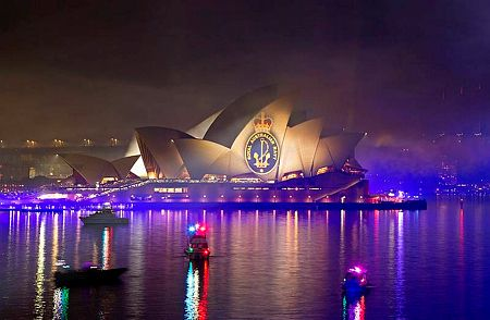 Images broadcast onto the Opera House during the Spectacular. #IFR 2013