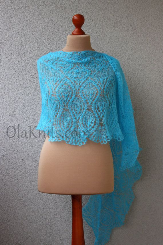 turquoise summer shawl light blue shawl lace hand by OlaKnits