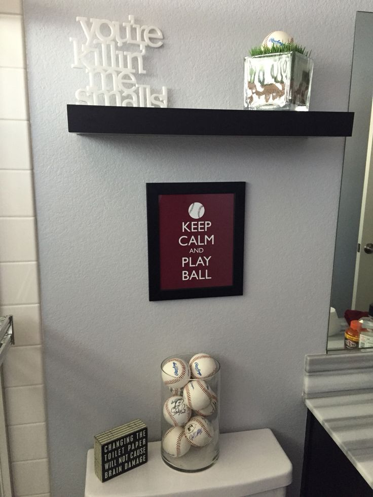 Baseball themed bathroom update