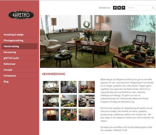 Nya webbsidan för inredning av hem och företag samt renovering som vi på gRETRO kan erbjuda.