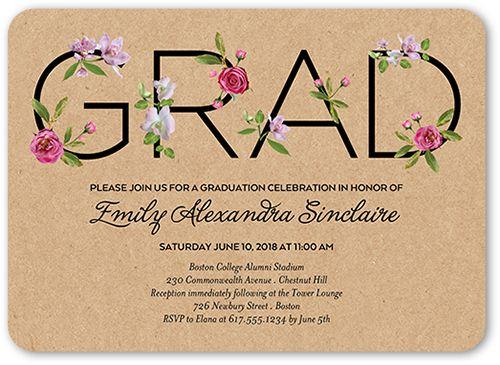 Graduation Invitations: Elegant Alumni, Invitation, Rounded Corners, Beige