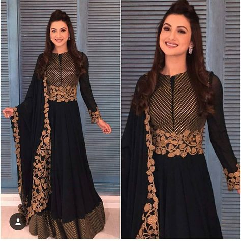 Black with gold anarkali  #want it