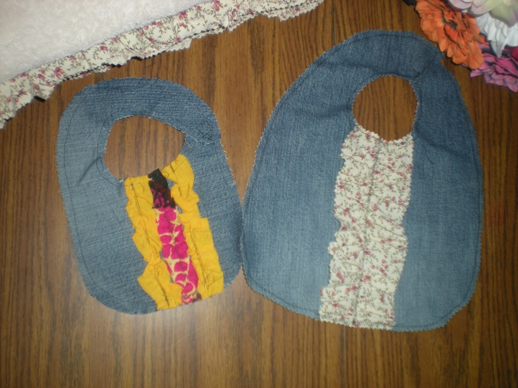 Baby bibs made out of old jeans!  Recycled denim!