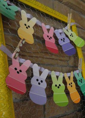 "DIY Paint Chip ""Peeps"" Banner...how cute!"
