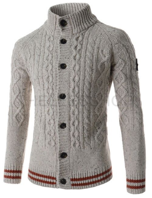 (SGC26-LIGHTBEIGE) Mens Turtle Neck Twisted Knitted Stripe Patched Long Sleeve Cardigan
