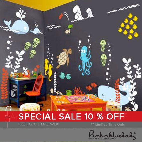 Underwater Playroom Wall Decals  Kids & Nursery Wall Decor