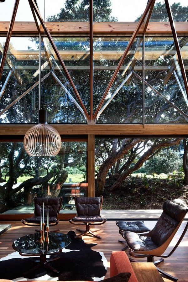 High & low Falcon chairs, coffee table & footstool; Pohutukawa Beach House by Herbst Architects 9