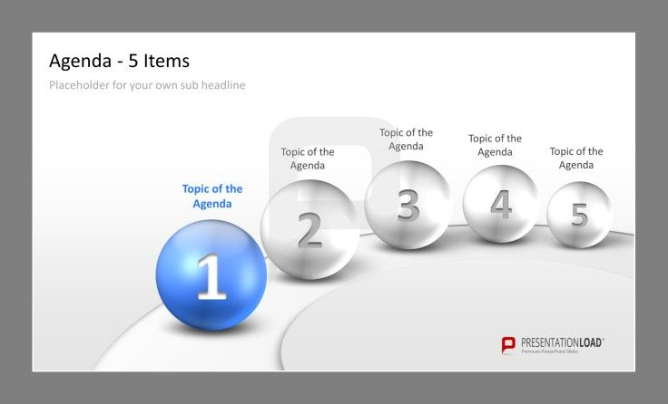 Professional PPT Agenda Template 5 elegant items to present your - professional power point template