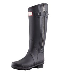 """Hunter Boot Rag & Bone Tall Zip Boot, Black  Hunter and Rag & Bone team up for the ultimate collaboration of cool, bringing together intrinsically stylish motorcycle details to the timeless Wellington boot so you can rock both labels rain or shine. Waterproof matte rubber. 15""""H shaft; 15"""" circumference. """"Hunter Rag & Bone"""" logo on front. Hook-and-eye tab covers outside zip. """"Rag & Bone"""" logo engraved gunmetal hardware. Quick dry knit lining and cushioned insole. Lugged rubber outsole for…"""