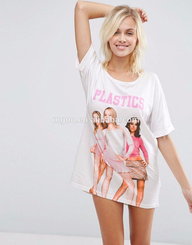 Oversized Loose Sleepwear For Yourng Girls Cotton Nightwear With Custom Print Longline Girls Plastics Sleep Tee