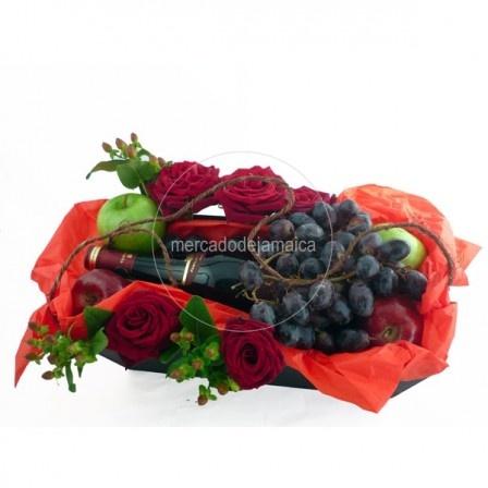 arreglo con vino, arreglo floral para hombres, arreglos frutales para hombres