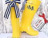 Custom Monogrammed Yellow Gloss Rain Boot with Bow