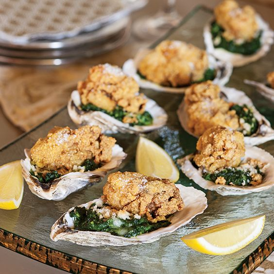 These Fried Oysters Over Creamed Spinach make a stunning presentation on the half shell.