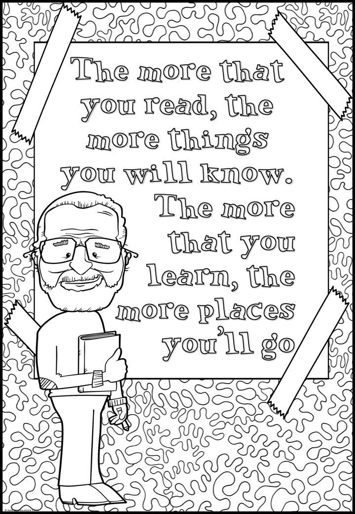 Theodor Geisel Dr Seuss Growth Mindset Quotes Coloring Pages