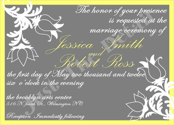 Grey & Yellow Floral print Wedding Invitation by JustTheDetails, $175.00