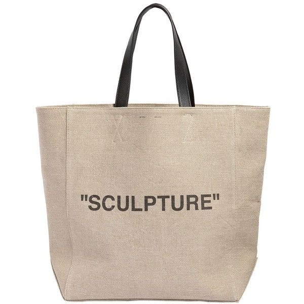 "Off White Women Large ""sculpture"" Printed Jute Tote Bag ($1,175) ❤ liked on Polyvore featuring bags, handbags, tote bags, beige, handbags tote bags, lined tote bag, jute tote, beige tote and jute handbags"
