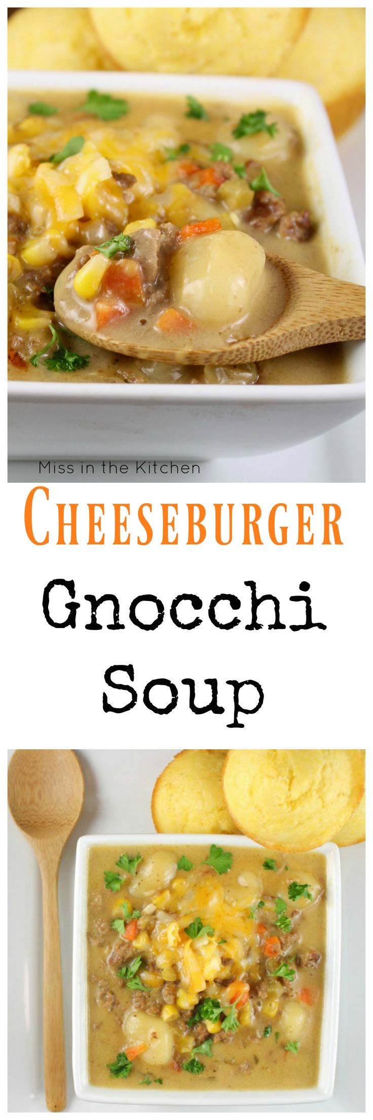 Cheeseburger Gnocchi Soup is the perfect comfort food to warm you right up on a cold evening! This is an easy and delicious dinner that the entire family can agree on. Recipe from MissintheKitchen.com