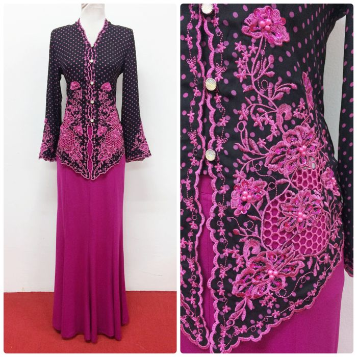 Check out our newly added Kebaya Emily - sweet polka dot short kebaya, with beautiful embroidery. Available in plus size too! | Empire of Elegance