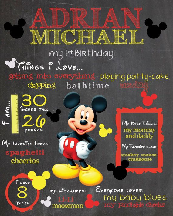 Mickey Mouse or Minnie Mouse Chalkboard Sign! / Printable /  First Birthday Chalkboard Poster / Whimsical