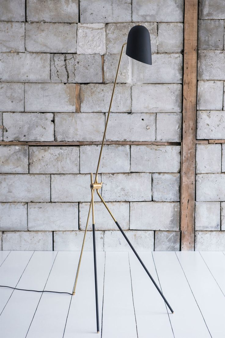 Cliff Sol Floor Lamp  Floor lamp Brass, powder-coated aluminum Black nylon wire Bulb: North America E26 Europe/UK/AU E27 L 25.5 x W 33.25 x H 61.25, wire 96 in L 648 x W 845 x H 1556, wire 2438 mm