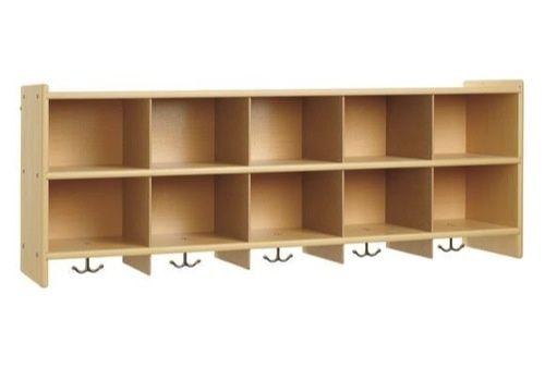 Daycare Storage.....DIY! Buy a shelf, attach to the wall sideways and add hooks underneath!