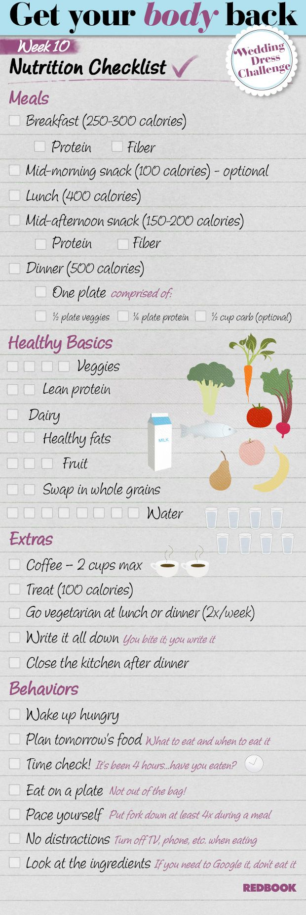 Wedding Dress Challenge Eating Checklist Week 10 - Redbook
