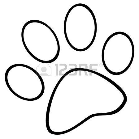 Pata de impresión de perro. Foto de archivo.