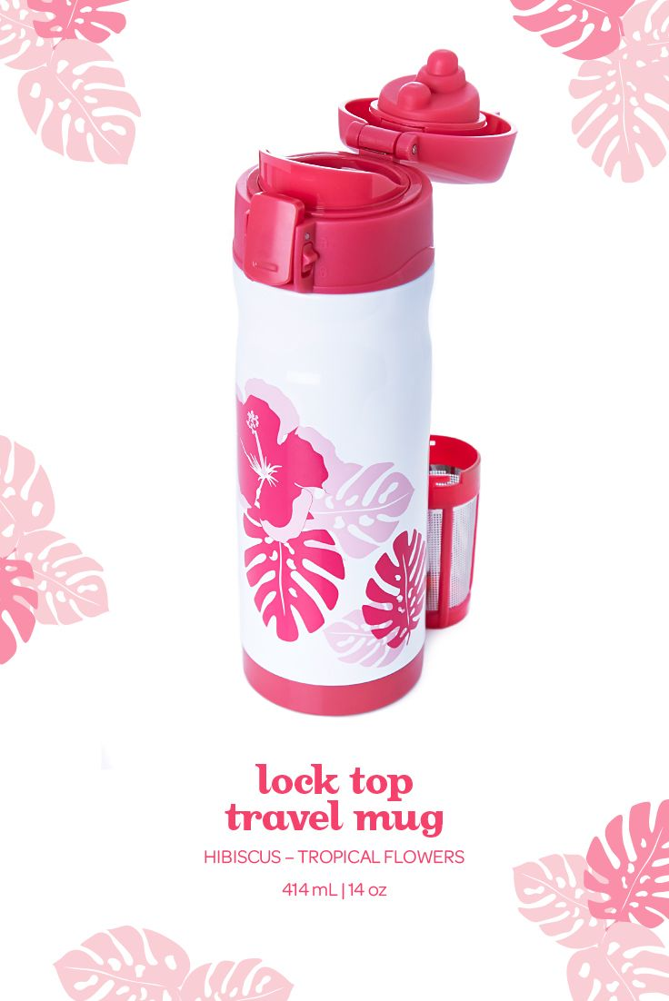 Hibiscus lock top travel mug - This pretty pink mug has a leakproof lid that locks shut to prevent spills or leaks.