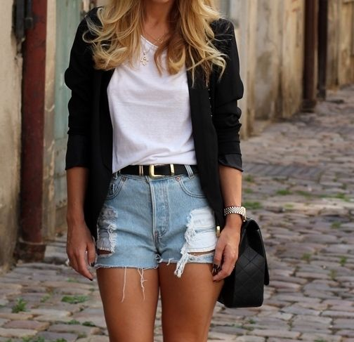 Tucked in white tee with high waisted shorts and a blazer #outfits
