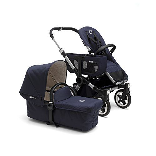 Bugaboo Donkey Classic Mono Stroller, Blue  Includes: chassis with wheels, faux leather handlebar and carry handle, navy bassinet with mattress, seat fabric, extendable sun canopy and bassinet apron with off white quilted lining, navy side luggage basket, rain cover and underseat basket.  Modular design allows you to create a side-by-side duo stroller for 2 children of different ages with the Donkey Classic+ Duo Extension set or a twin stroller for 2 children of the same age usingthe ...