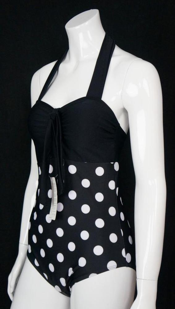 One Piece Monokini Swimsuit Bathing Suit Black & White Polka Dot sz Large NWT #NorthSouthFashion #OnePiece