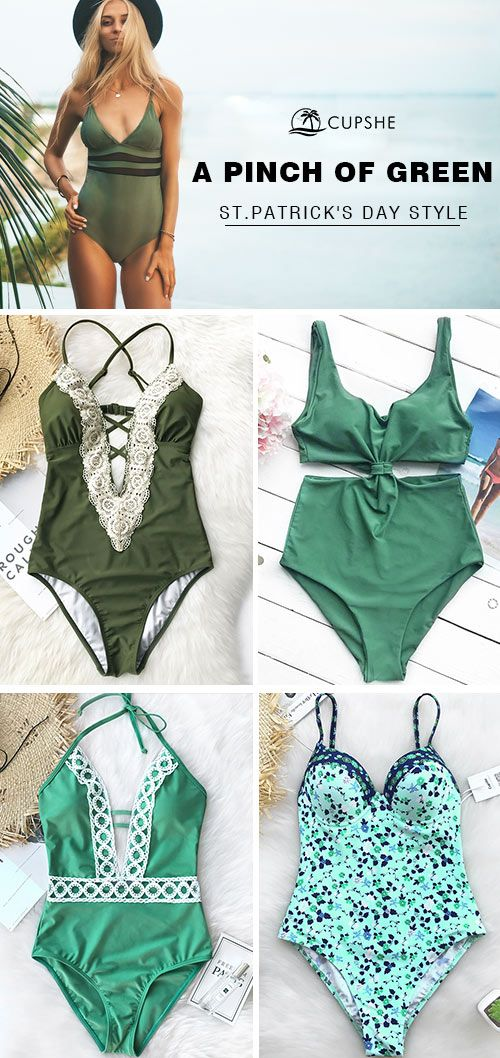 ☘ In celebration of  St. Patrick's Day, Cupshe brings you a collection of stylish green swimwear for you, perfect for a relaxed spring-summer vacation. Don't let go easily of every chance to meet the sparkling you!