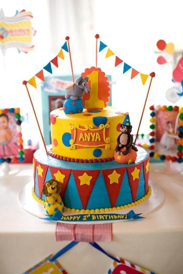 Circus Party - Cute Cake - Blue, Red, Yellow, Orange - Animals Elephant, Lion - Garland - Themed