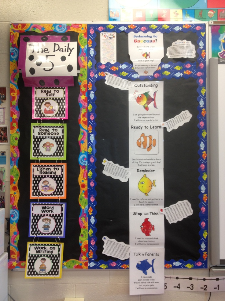 Mrs  Fisher's Daily five chart and class discipline with fish. (will use close pins to track students progress)