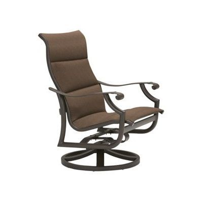 Tropitone Montreux Padded Sling Swivel Action Rocking Chair Finish: Obsidian, Fabric: Sparkling Water