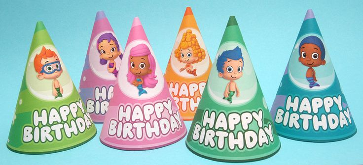 Bubble Guppies printable party hats are sure to make a splash at your next birthday party!