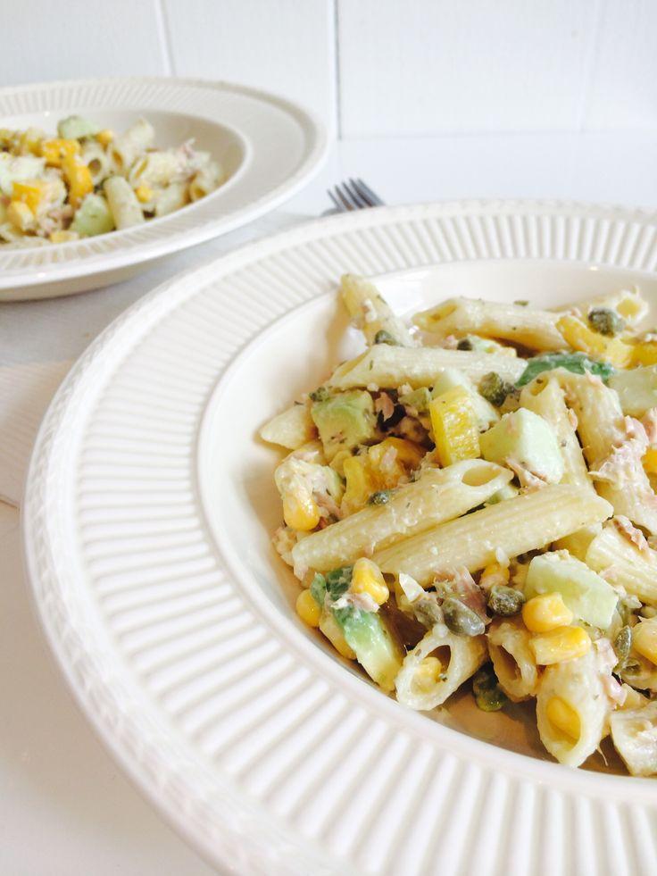 Koude pasta salade met tonijn - Heart4Cooking