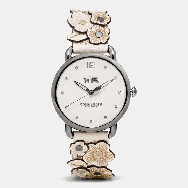 Coach Delancey Leather Strap Watch With Floral Applique ($295) ❤ liked on Polyvore featuring jewelry, watches, chalk, flower watches, floral jewelry, coach watches, flower jewellery and coach wrist watch